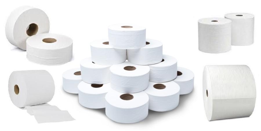 papel higienico y toallas en rollo